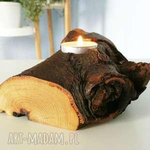 świecznik drewno - ,świecznikdrewno,tealight,świeczka,skandynawski,vintage,