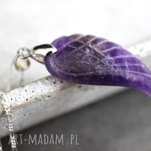 925 skrzydło anioła srebrny naszyjnik ametyst - amentsy, wisiorek, zawieszka