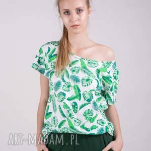 handmade koszulki t-shirt damski basic biały w liście zielone