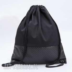 czarna ekoskóra, torba, plecak, worek, pikowana
