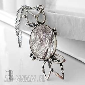 Prezent Turmalinowy kwiat srebrny naszyjnik z kwarcem turmalinowym ,