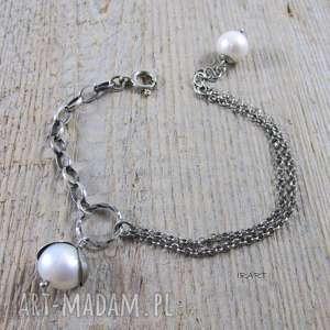 DELIKATNA BRANSOLETKA Z PERŁĄ, perła, srebro, bransoletka