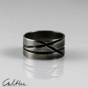 skosy - metalowa obrączka rozm 15 - 150426-01 - pierścionel, obrączka