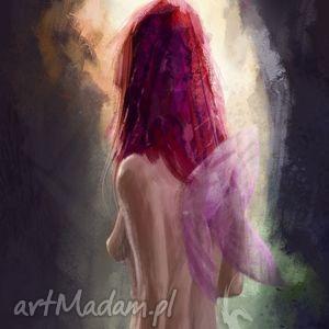 obraz - dziewczyna ze skrzydłami, wróżka, elf płótno, obraz, nowoczesny, akt