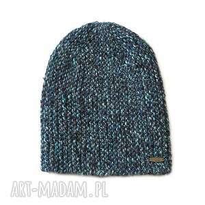 czapki czapka #15, czapka, melanż, alpaka, dziergana, druty, beanie