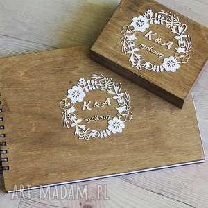 Zestaw - księga gości i pudełko na obrączki, album, księga, gości, drewno,