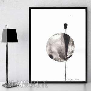 art krystyna siwek grafika do ramki 30x40, nowoczesna na ścine, czarno-biała