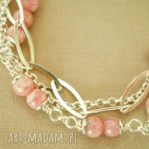 bransoletka ze srebra i rodochrozytu - srebro, delikatna, lekka, kobieca, pastelowa