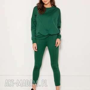 luźna bluza z geometrycznymi cięciami blu148 zielony, bluza, bluzy