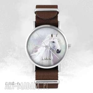 hand-made zegarki zegarek - biały koń brązowy, nato