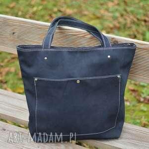 granatowa torba nubuk naturalny, z kieszenią, do pracy, torebka