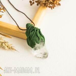 Wisior inspirowany naturą z kryształem górskim, kryształ, kwarc, wisior, naszyjnik