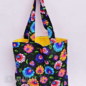 torba na zakupy shopperka czarny łowicz żółta podszewka, torba, shopperka