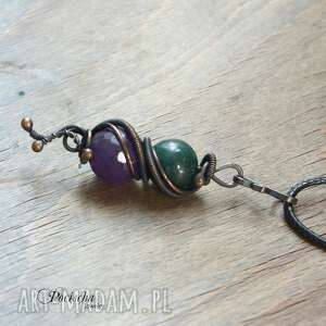 duo- naszyjnik z kamieniami, naszyjnik, wisior, marmur, agat, kolorowy, skromy