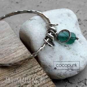 srebro i szkło antyczne - bransoleta z zawieszkami - szkło afgańskie