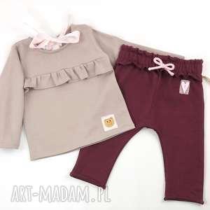 handmade ubranka komplet spodnie buggy i bluza z falbanka
