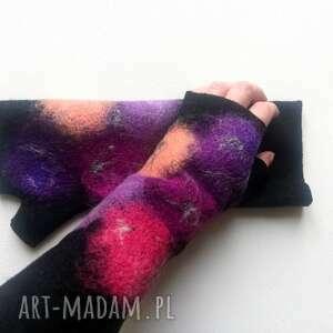 mitenki fiolety - rękawiczki bez palców, kolorowe mitenki, ciepłe