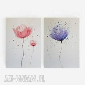 paulina lebida kwity-dwie akwarele każda formatu 18/24 cm, kwiaty, akwarela