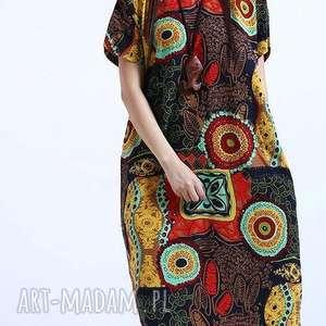 Prezent sukienka lniana wzorzysta, sukienka, mama, lato, len, prezent, drukowana