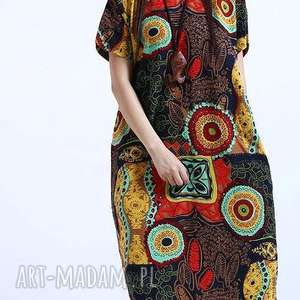 sukienki sukienka lniana wzorzysta, sukienka, mama, lato, len, prezent, drukowana