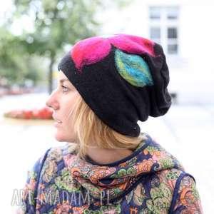 czapka wełniana damska czarna - czapka, zima, ciepła, etno, kwiaty, boho