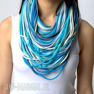 naszyjnik dzianinowy niebiesko-kremowy, bawełna, dzianina, eko, naszyjnik, sznurki