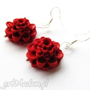 KOLCZYKI czerwone kwiaty, kolczyki, modelina, masa, fimo, kwiat, kwiaty