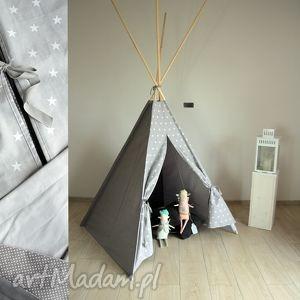 pokoik dziecka teepee szare gwiazdy - namiot do domu lub ogrodu, tipi, zabwaka