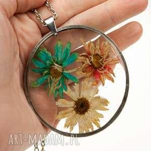 z38 naszyjnik z suszonym kwiatem w żywicy - naszyjnik z kwiatów, biżuteria z