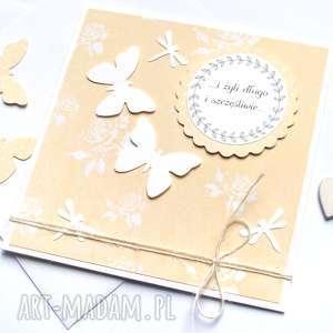 kaktusia kartka ślubna motyle ważki, motyle, ślub