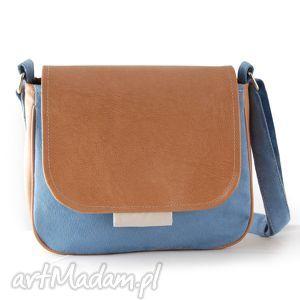 ręcznie robione na ramię bambi - mała torebka jasnoniebieska i ecru