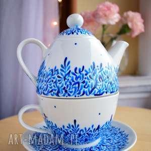 ceramika imbryk filiżanka ręcznie malowane szafirowy, dla mamy, nauczycielki