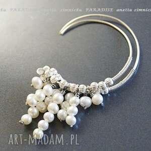 srebro kolczyki - klasyka perły, koła, srebro