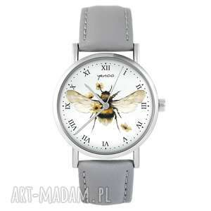 zegarki zegarek - bee natural skórzany, szary, zegarek, pszczoła
