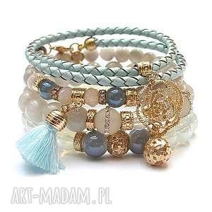 Light blue and vanilla vol. 27 /03-08-18/ set, jadeity, jaspisy, agaty, skóra, szkło