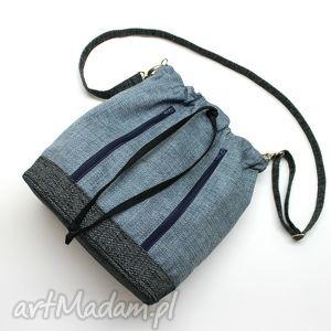 ręcznie zrobione na ramię worek sakiewka - plecionka niebieska i grafit