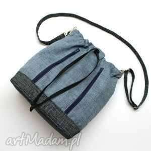 hand-made na ramię worek sakiewka - plecionka niebieska i grafit