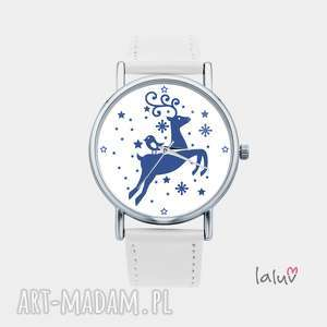 zegarek z grafiką zimowy renifer, rudolf, prezent, święta, świąteczny