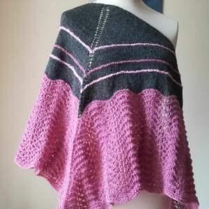unikalny, z antracytem chusta, rękodzieło, chusta na drutach, autorska