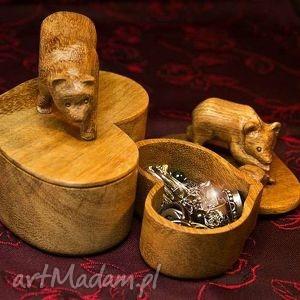 2 ręcznie rzeźbione puzderka z królewskiego drewna, puzderka, niedźwiadki, drewniane