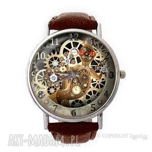 mechaniczna jaszczurka - skórzany zegarek z dużą tarczą