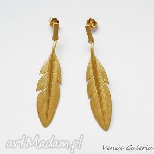 Kolczyki srebrne - Złote pióra, bizuteria, srebro, kolczyki