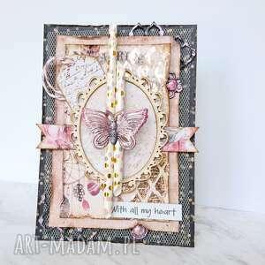 handmade scrapbooking kartki kartka z motylem różowe złoto