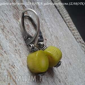 jabłkowe kolczyki z turkusu i srebra, turkus jabłkowy, srebro oksydowane