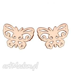 kolczyki z ażurowymi motylkami w różowym złocie, modne, kobiece, delikatne