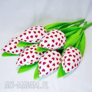 tulipany handmade z materiału bukiet - tulipany, prezent, serce, dekoracje, bukiet