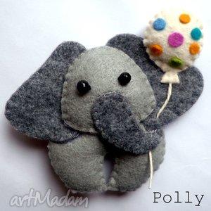 słonik z balonikiem- broszka - broszka, słonik, słoń, filc, prezent