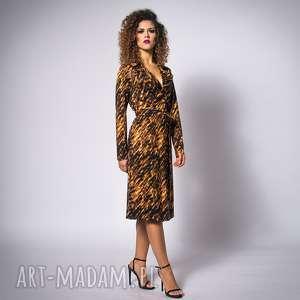 Gabriela midi - gold zebra, żakietowa, elastyczna, jersey