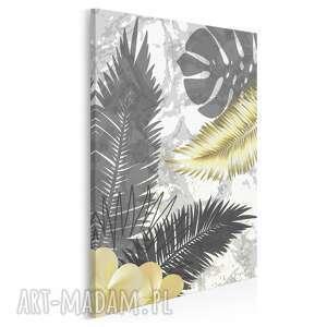 obraz na płótnie - liście złoty art-deco w pionie 50x70 cm 89407