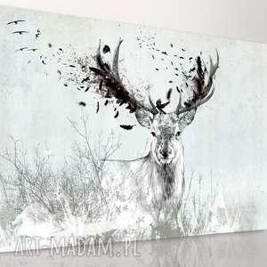 Obraz na płótnie 120x80- Jeleń w szarościach 02-210 wysyłka 24h, jeleń, nowoczesny